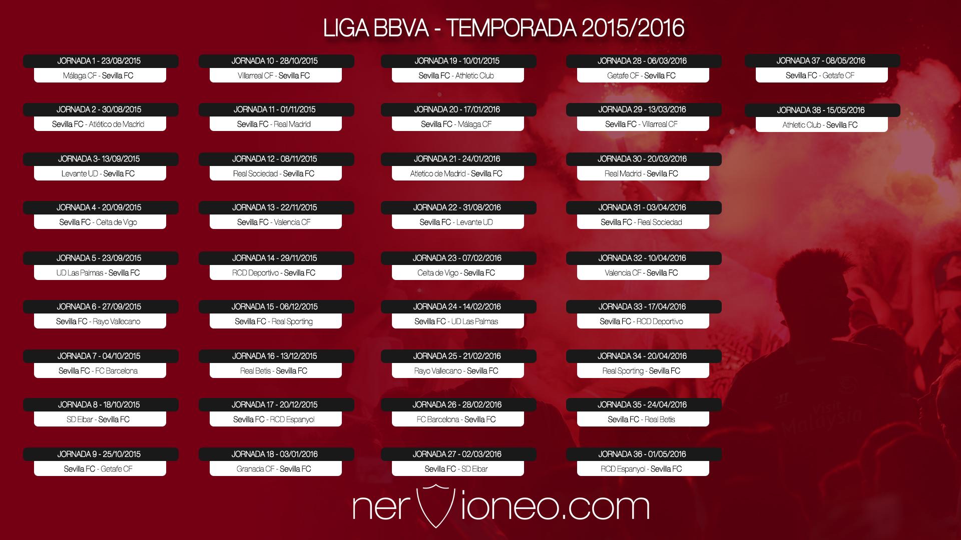 Calendario Sevilla.Calendario Oficial El Sevilla Betis Se Disputara En La Jornada 35